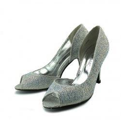 Minnie Sparkle Peep Toe Kitten Heels - Silver