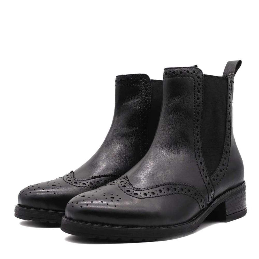 Eve Black Leather Comfort Chelsea Brogue Ankle Boots
