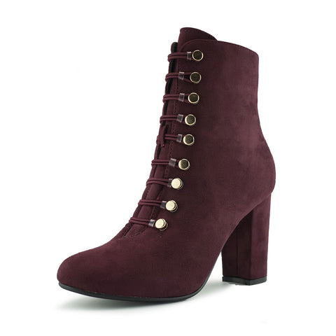 Lucia Vintage Gold Button Boots - Burgundy