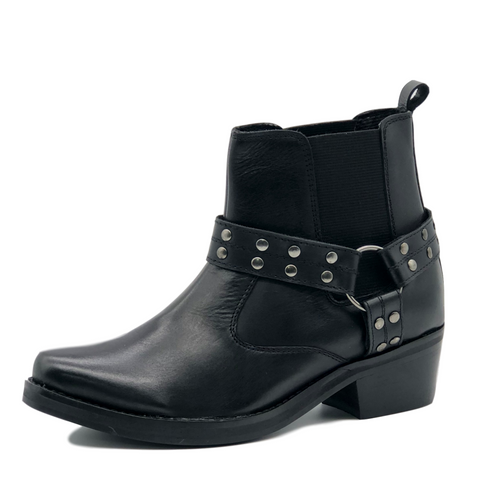 Ace Ladies Leather Black Stud Biker Boots