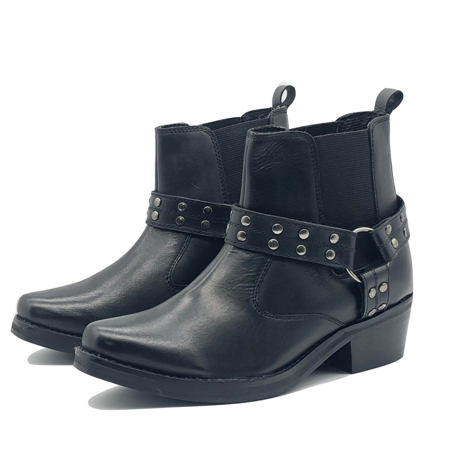Ace Leather Studded Black Biker Boots