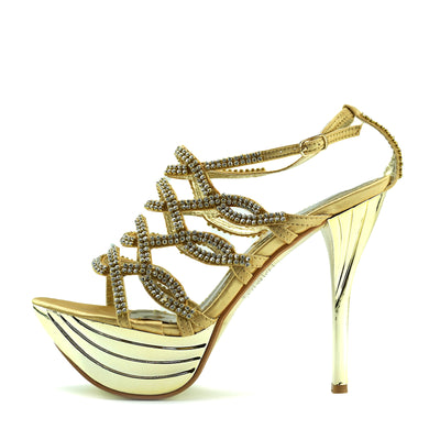 Womens Charmaine Clear Perspex High Heels Fashion Platform Pole Dancing Shoes - Gold AB191