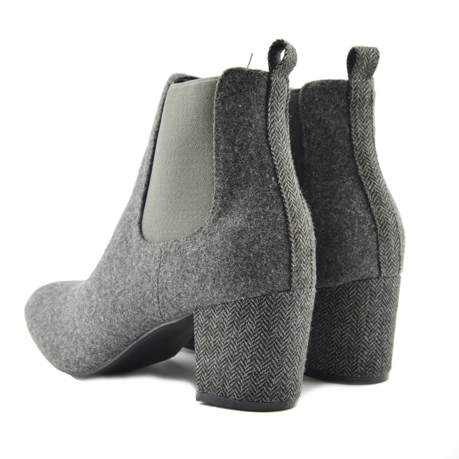 Chunky textile Chelsea Block Heel Ankle Boots - Grey