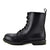 Paris Retro Combat Punk Boots - Black Leather