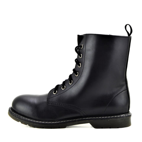 Retro Combat Punk Boots - Black Leather