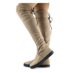 Alisha Soft Over the Knee Slouch Flat Boots - Tan