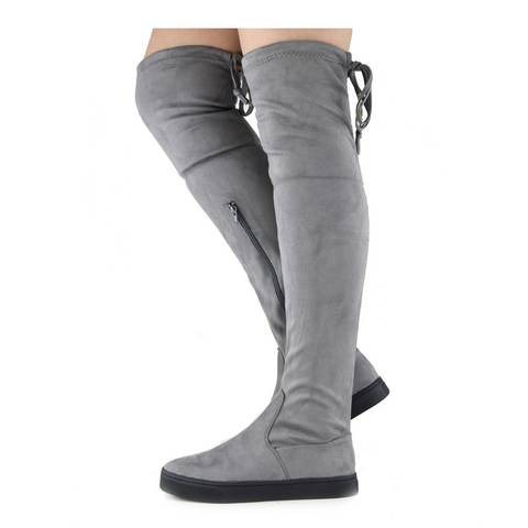Alisha Soft Over the Knee Slouch Flat Boots Grey