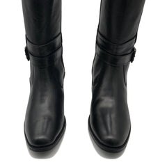 Western Smart Leather Black Boots -19518