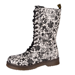 Women's Black & White Mid Calf Floral Punk Boots
