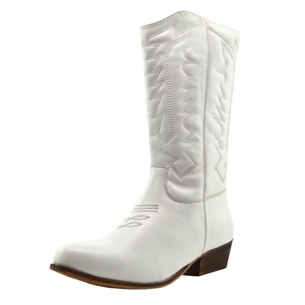 Womens synthetic leather white cowboy boots