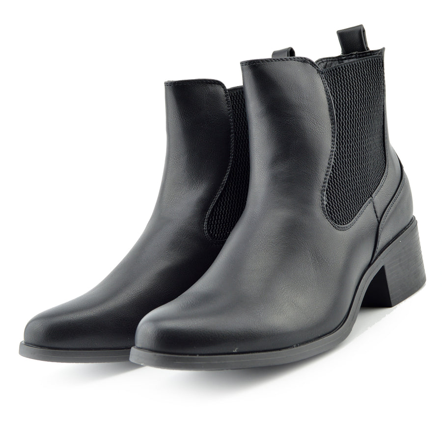 Chunky Chelsea Block Heel Ankle Boots - Black