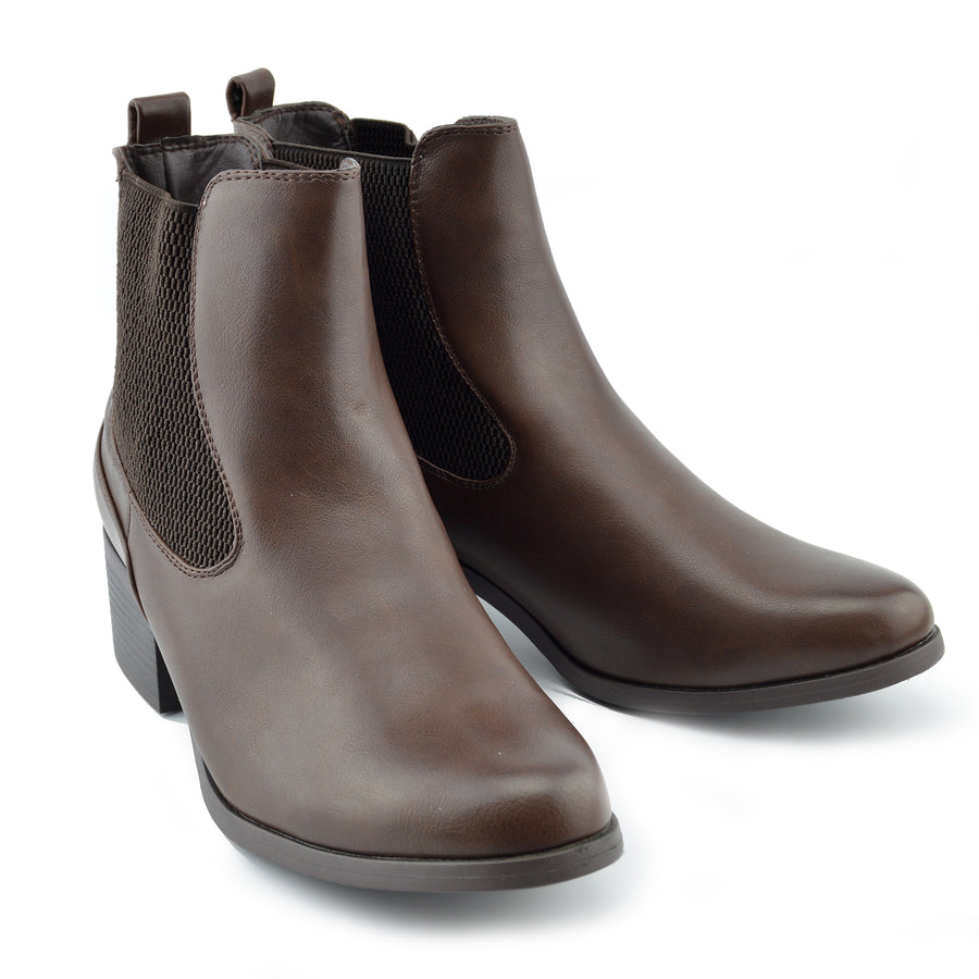 Chunky Chelsea Block Heel Ankle Boots - Brown