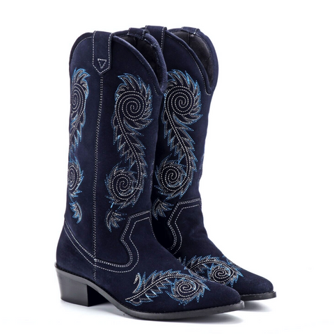 Blue Suede Embroidery Cowboy Boots