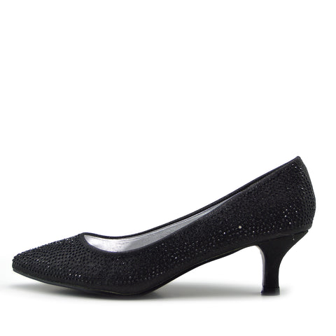 Low Heel Sparkle Pointed Kitten Shoes - Black