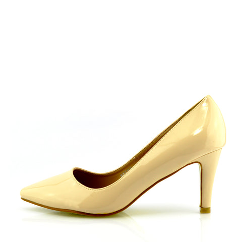 Mid Heel Smart Shoes - Nude