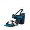 WOMEN'S MULTICOLOUR PEEP TOE BUCKLE FASTENING BLOCK HEEL SUMMER SANDALS - Blue