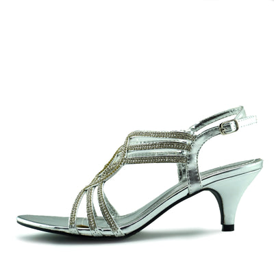Womens Heels Wedding Party Strappy Black Silver  Shoes - Silver