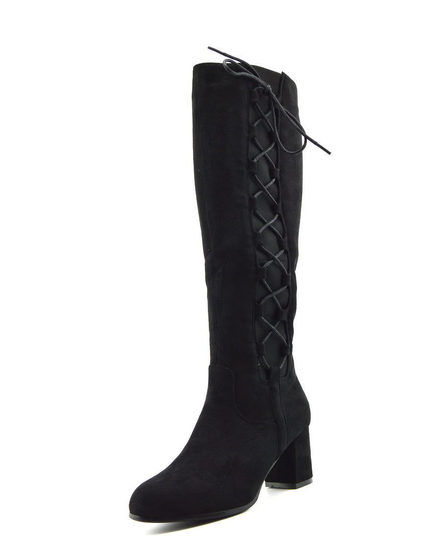 Demi Side Cut Out Closed Toe Boots - Black