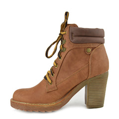 Brooklyn Block Heel Combat Boots - Brown