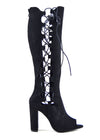 Demi Side Cut Out Lace up Peep Toe Boots - Black