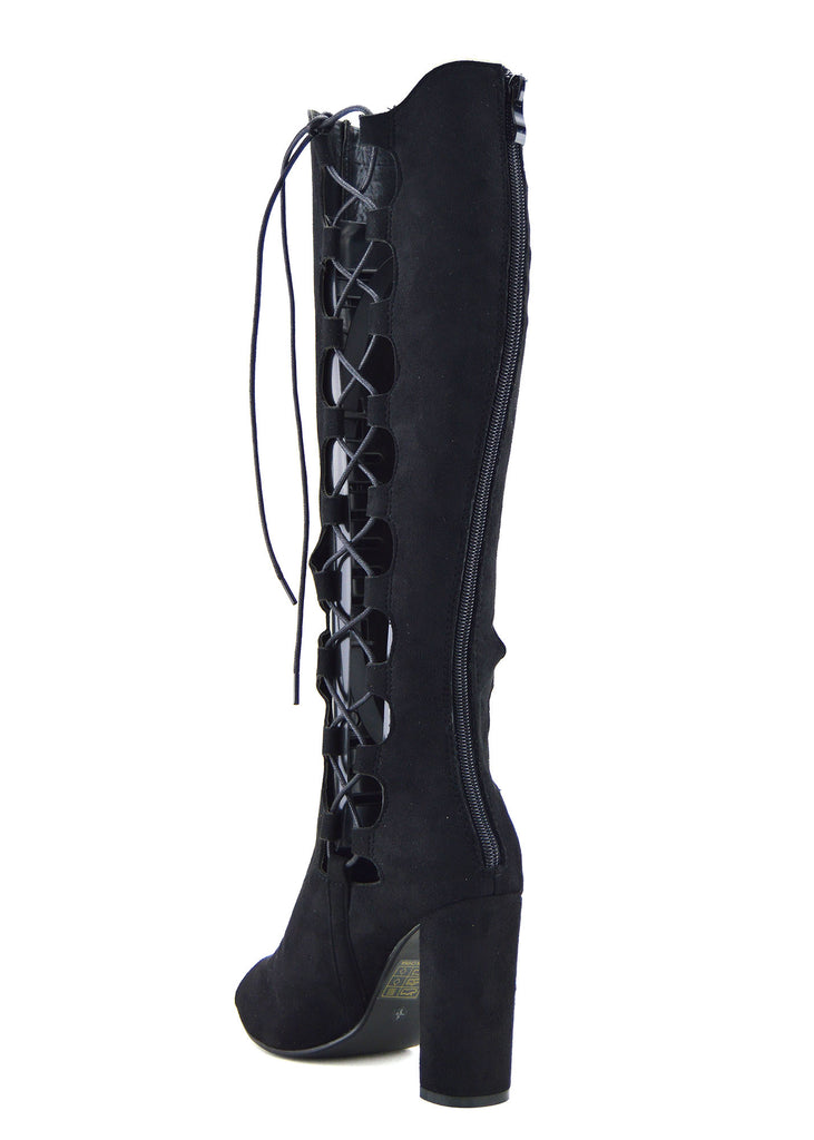 Demi Side Cut Out Lace up Peep Toe
