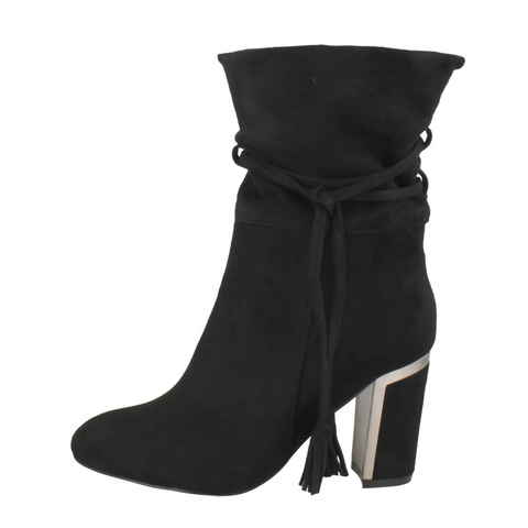 New Lola Tie Black Heeled Boots
