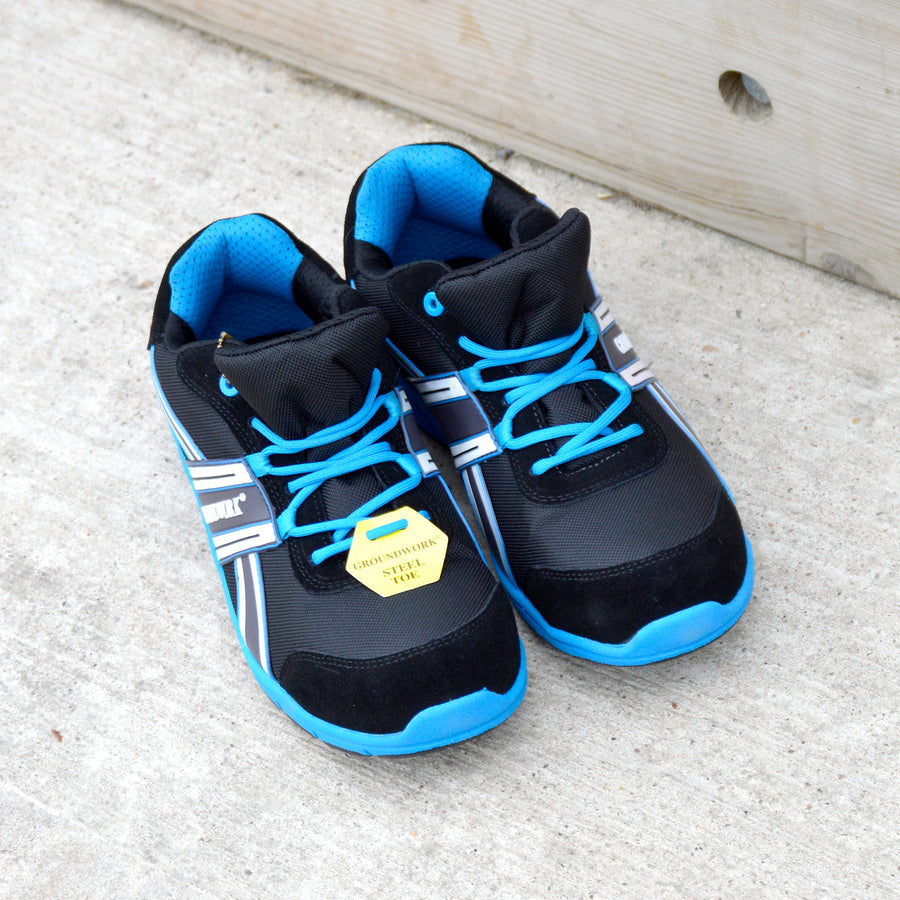 Groundwork Steel Toe Lightweight Safety Trainers - Black-Blue