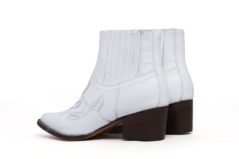 White Kitty Leather Ankle Boots