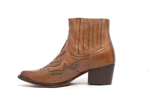 Tan Kitty Leather Ankle Boots