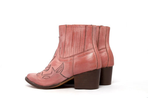 Pink Kitty Leather Ankle Boots
