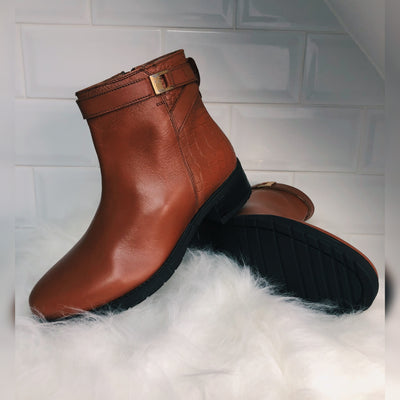 York Leather Chelsea Tan Buckle Boots
