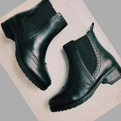 Eve Black Leather Chelsea Brogue Ankle Boots - 1001