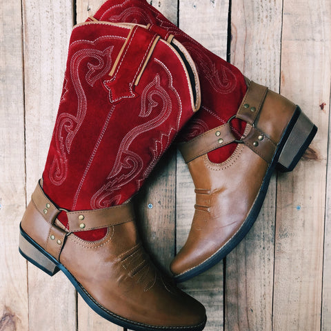 Duke Red Suede Cowboy Boots