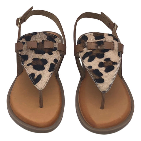 Flat Leather Zebra Leopard Animal Sandals -  F00228