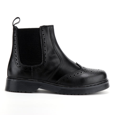 Black Leather Chelsea Brogue Ankle Boots