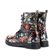 Dahlia Lace Up Combat Boots - Black Print