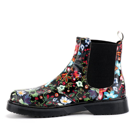 Dahlia Floral Dealer Woman Combat Boots Slip On