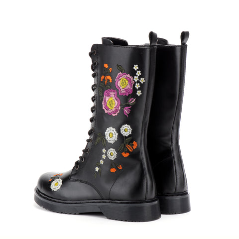 Lennox Mid Calf Leather Combat Spring Daisy Boots