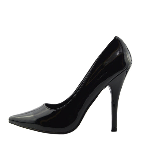 High Shine Stiletto Court Shoes - Black Patent