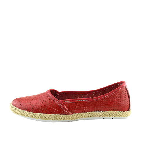 Dalton Espadrille Slip on Flat Loafer Pumps - Red