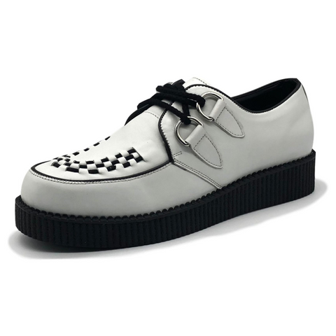 Mens Rebel White Leather Creepers