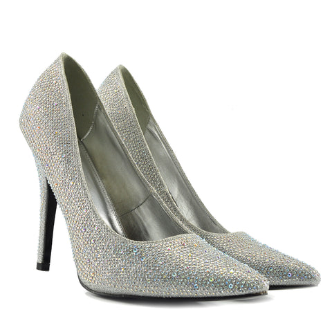 Pointed Sparkle Party Heels - Silver PO0440