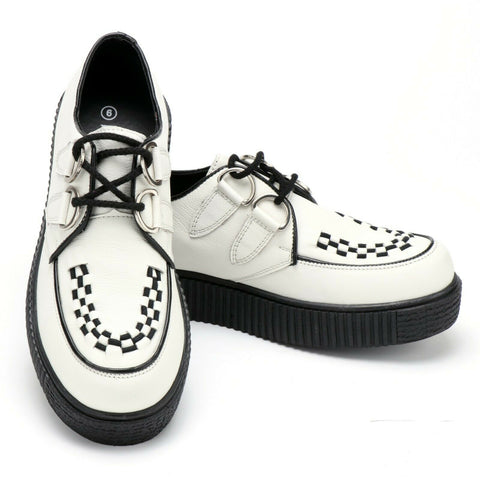 Women's Riot White Leather Creepers
