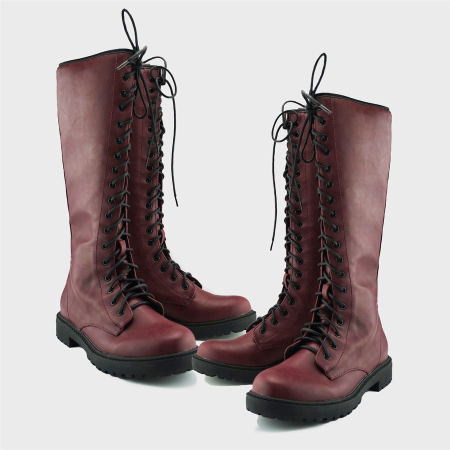 Reign Long Lace Up Punk Boots - Burgundy