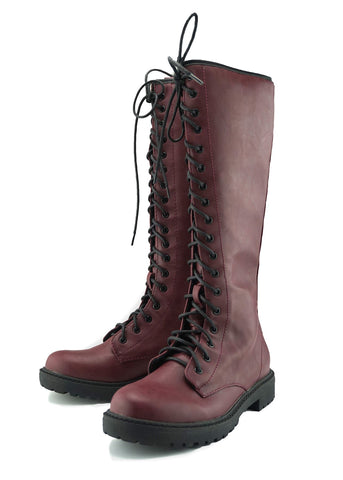 Reign Long Punk Boots - Burgundy