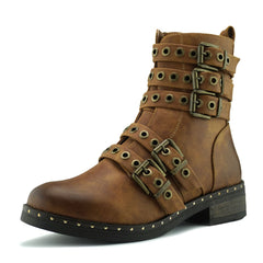 Clash Multi Strap Punk Boots - Brown