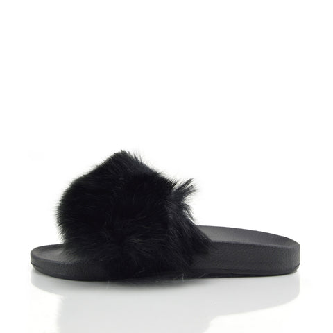 fluffy flip flop slippers for women