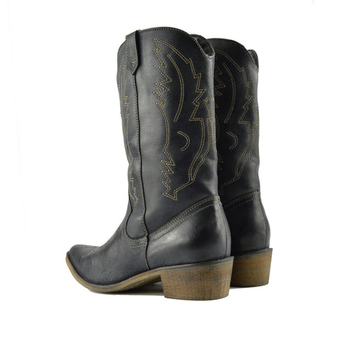 Kitty Western Leather Cowboy Boots - Black
