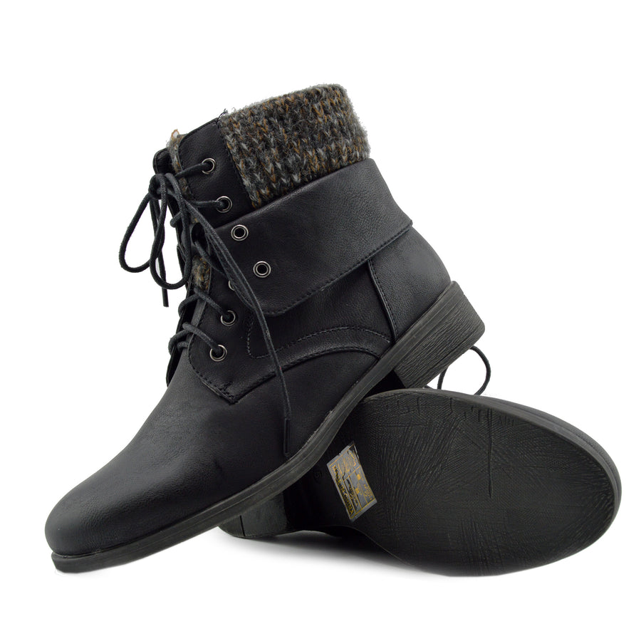 Park Soft Top Combat Ankle Boots - Black