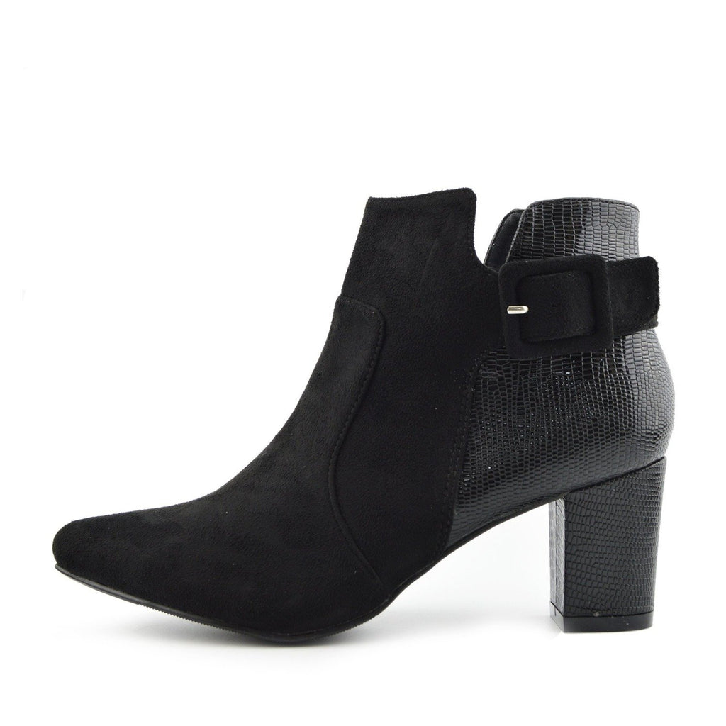 Grove Croc Side Buckle Chelsea Ankle Boot - Black